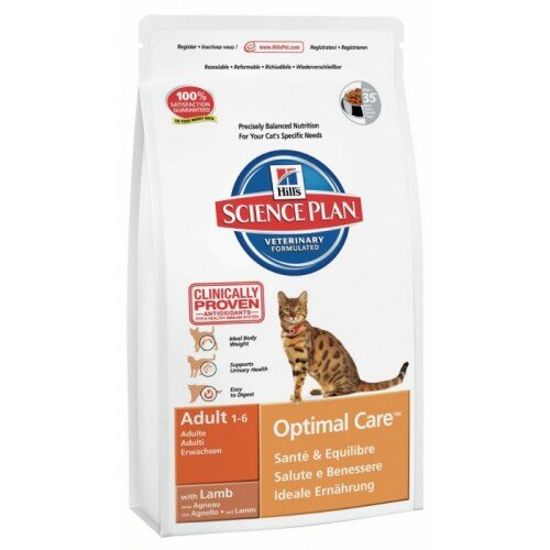 Hill's корм для кошек Science Plan Optimal Care Adult with Lamb