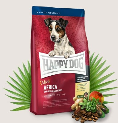 Happy Dog Supreme Mini Africa корм для собак мелких пород со страусом и картошкой  1кг