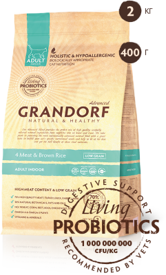 Grandorf корм для кошек Probiotic Indoor 4Meat&BrownRice