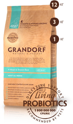 Grandorf корм для собак Probiotic AllBreeds 4Meat&BrownRice